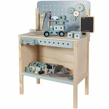 Tiamo Little Dutch 4448 Holz Spielwerkbank mit Werkzeuggürtel und Zubehör blau Mint 86x36x55 cm - 3