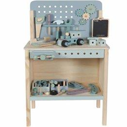 Tiamo Little Dutch 4448 Holz Spielwerkbank mit Werkzeuggürtel und Zubehör blau Mint 86x36x55 cm - 1