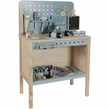 Tiamo Little Dutch 4448 Holz Spielwerkbank mit Werkzeuggürtel und Zubehör blau Mint 86x36x55 cm - 4