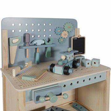 Tiamo Little Dutch 4448 Holz Spielwerkbank mit Werkzeuggürtel und Zubehör blau Mint 86x36x55 cm - 5