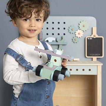 Tiamo Little Dutch 4448 Holz Spielwerkbank mit Werkzeuggürtel und Zubehör blau Mint 86x36x55 cm - 6