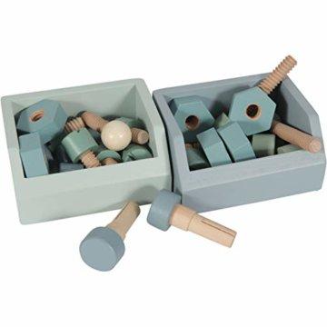 Tiamo Little Dutch 4448 Holz Spielwerkbank mit Werkzeuggürtel und Zubehör blau Mint 86x36x55 cm - 7