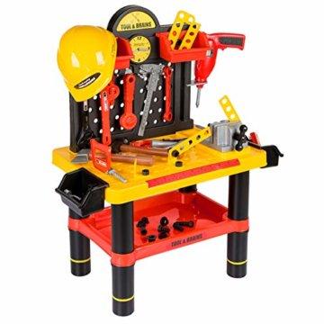 Werkbank Kinder Kinderwerkbank & Zubehör Werkstatt KP2646 Kleinkindspielzeug Kinderbank Werkzeug Schrauben und Bauelementen Inkl. Helm Zubehör Kinder werkzeugbank - 3