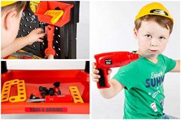 Werkbank Kinder Kinderwerkbank & Zubehör Werkstatt KP2646 Kleinkindspielzeug Kinderbank Werkzeug Schrauben und Bauelementen Inkl. Helm Zubehör Kinder werkzeugbank - 4