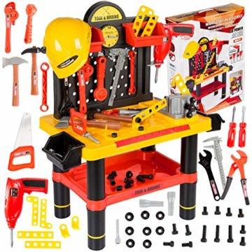 Werkbank Kinder Kinderwerkbank & Zubehör Werkstatt KP2646 Kleinkindspielzeug Kinderbank Werkzeug Schrauben und Bauelementen Inkl. Helm Zubehör Kinder werkzeugbank - 1