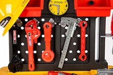Werkbank Kinder Kinderwerkbank & Zubehör Werkstatt KP2646 Kleinkindspielzeug Kinderbank Werkzeug Schrauben und Bauelementen Inkl. Helm Zubehör Kinder werkzeugbank - 5