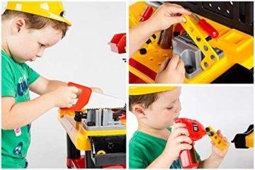 Werkbank Kinder Kinderwerkbank & Zubehör Werkstatt KP2646 Kleinkindspielzeug Kinderbank Werkzeug Schrauben und Bauelementen Inkl. Helm Zubehör Kinder werkzeugbank - 6
