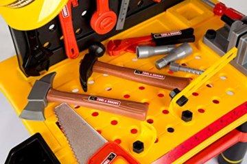 Werkbank Kinder Kinderwerkbank & Zubehör Werkstatt KP2646 Kleinkindspielzeug Kinderbank Werkzeug Schrauben und Bauelementen Inkl. Helm Zubehör Kinder werkzeugbank - 7