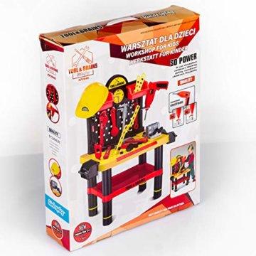 Werkbank Kinder Kinderwerkbank & Zubehör Werkstatt KP2646 Kleinkindspielzeug Kinderbank Werkzeug Schrauben und Bauelementen Inkl. Helm Zubehör Kinder werkzeugbank - 8