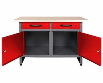 Ondis24 Montagewerkbank Werkstatteinrichtung Werkbank 120cm Werktisch rot mit 2 kugelgelagerten Schubladen & 2 abschließbaren Türen, TÜV geprüft - 2