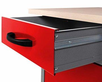 Ondis24 Montagewerkbank Werkstatteinrichtung Werkbank 120cm Werktisch rot mit 2 kugelgelagerten Schubladen & 2 abschließbaren Türen, TÜV geprüft - 3