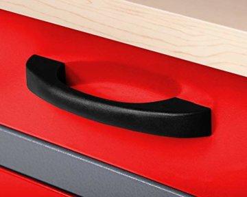 Ondis24 Montagewerkbank Werkstatteinrichtung Werkbank 120cm Werktisch rot mit 2 kugelgelagerten Schubladen & 2 abschließbaren Türen, TÜV geprüft - 4