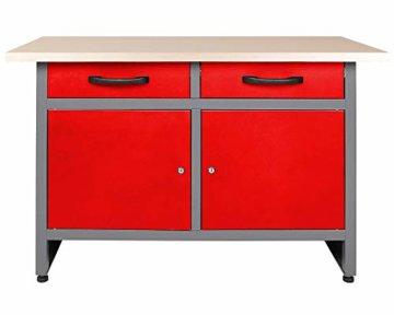 Ondis24 Montagewerkbank Werkstatteinrichtung Werkbank 120cm Werktisch rot mit 2 kugelgelagerten Schubladen & 2 abschließbaren Türen, TÜV geprüft - 1