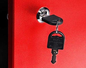 Ondis24 Montagewerkbank Werkstatteinrichtung Werkbank 120cm Werktisch rot mit 2 kugelgelagerten Schubladen & 2 abschließbaren Türen, TÜV geprüft - 5