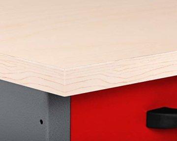 Ondis24 Montagewerkbank Werkstatteinrichtung Werkbank 120cm Werktisch rot mit 2 kugelgelagerten Schubladen & 2 abschließbaren Türen, TÜV geprüft - 7
