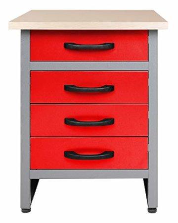 Ondis24 Werkstatt rot Werkstatteinrichtung 8 tlg. grau Werkbank Werkzeugschrank Lochwand - 3