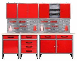 Ondis24 Werkstatt rot Werkstatteinrichtung 8 tlg. grau Werkbank Werkzeugschrank Lochwand - 1