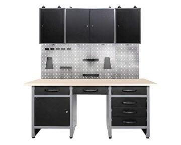 Ondis24 Werkstatteinrichtung mit LED Beleuchtung, 160 cm breit, Werkbank, Werkzeugschrank, Werkzeugwand - 1