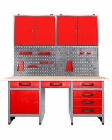 Ondis24 Werkstatteinrichtung rot 160 cm breit, Werkbank Harry, 2x Werkzeugschrank, Werkzeugwand - 1