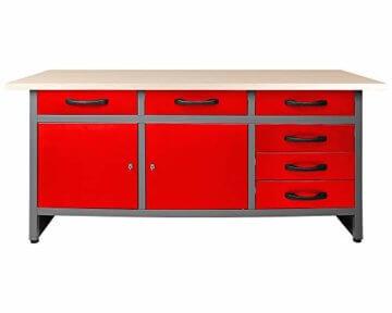Ondis24 Werkstatteinrichtung rot 160cm, Werkstatt - Werkbank, Hängeschrank, Euro - Lochwand mit Haken - 2