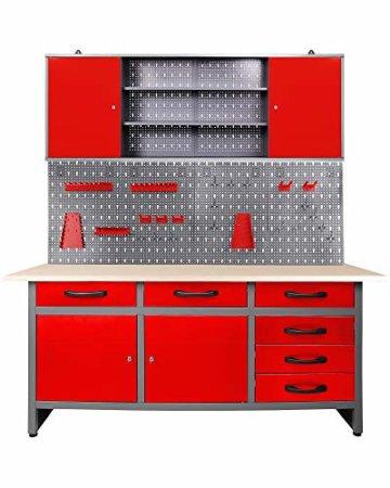 Ondis24 Werkstatteinrichtung rot 160cm, Werkstatt - Werkbank, Hängeschrank, Euro - Lochwand mit Haken - 1