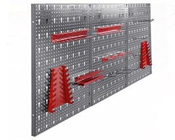 Ondis24 Werkstatteinrichtung rot 160cm, Werkstatt - Werkbank, Hängeschrank, Euro - Lochwand mit Haken - 5