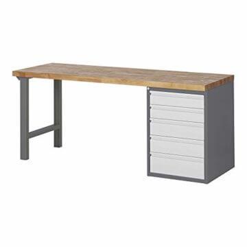 STIER Werkbank Premium, mit 10 Schubladen, BxTxH 2000x700x840mm, Hergestellt in Deutschland, aus Stahl und Buche, Werktisch, umweltfreundlich Pulverbeschichtet, Montagewerkbank - 1