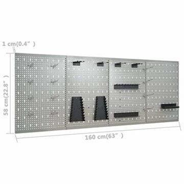 vidaXL Werkbank mit 4 Werkzeugwänden Werkstattwand Lochwand Werkstatteinrichtung Werkzeugschrank Montagewerkbank Werktisch Werkstatttisch - 5